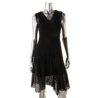 Elie Tahari Womens Eloise Lace Overlay A-Line Wear to Work Dress