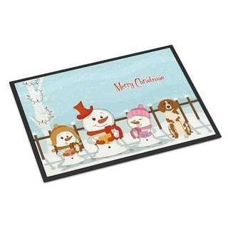 Carolines Treasures BB2403MAT Merry Christmas Carolers Brittany Spaniel Indoor or Outdoor Mat 18 x 0.25 x 27 in.