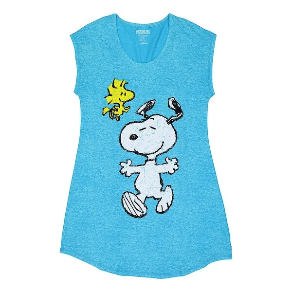 546f9bf73b Shop Peanuts Women s Snoopy and Woodstock Sleep Shirt - Blue Tunic-Cut  Novelty Top - Free Shipping On Orders Over  45 - Overstock - 23051470