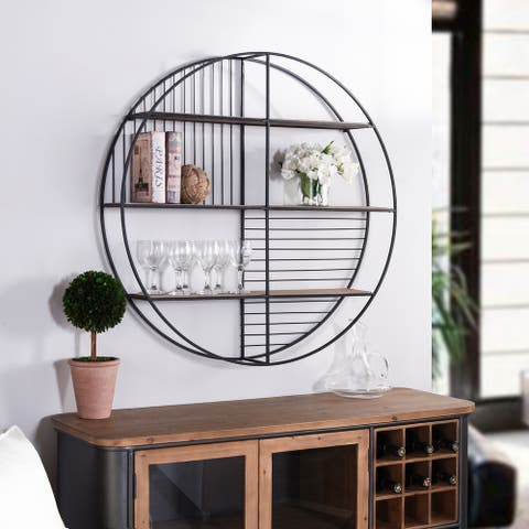 Carbon Loft Wilcoxon Metal Circular Open Wall Shelf Unit with Wood Shelving