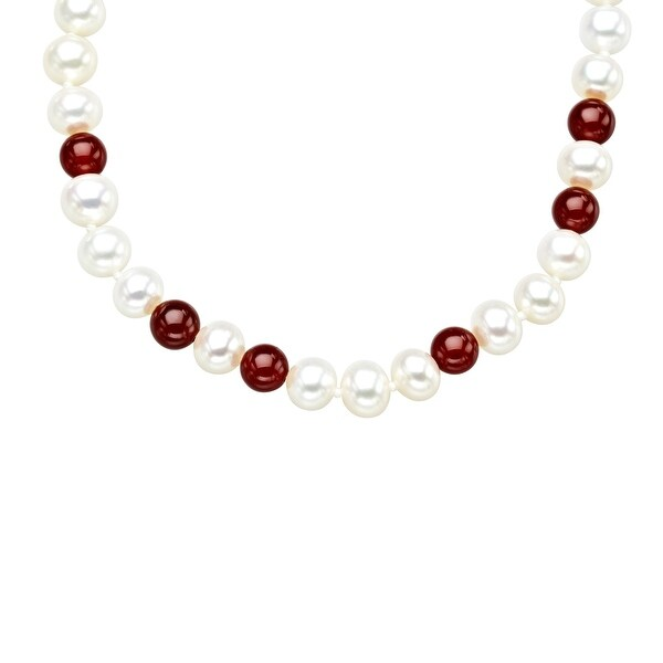 36-inch 7mm Freshwater Pearl and 6mm Carnelian Strand Necklace