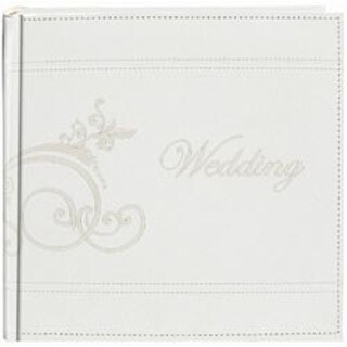 """White - Embroidered Scroll Leatherette Photo Album 8""""X8"""" 200 Pockets"""