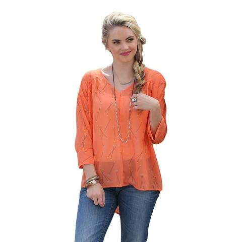 Cruel Girl Western Shirt Womens Blouse 3/4 Sleeves Orange
