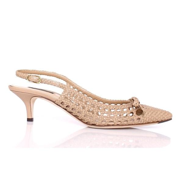 Dolce & Gabbana Beige Woven Leather Slingbacks Pumps Shoes - 39.5
