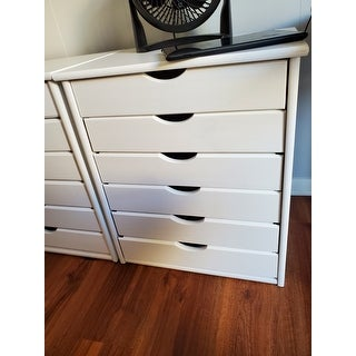 Adeptus White Solid Wood 6-drawer Wide Roll Cart