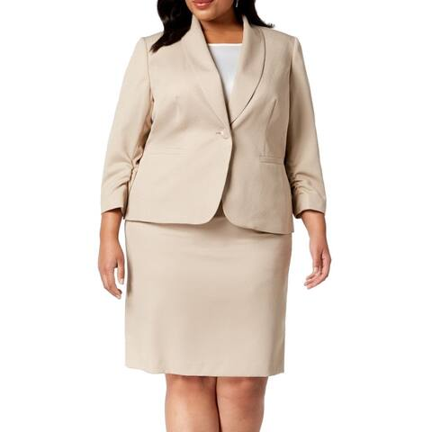 Le Suit Women's Skirt Suit Classic Sand Beige Size 22W Plus 1 Button