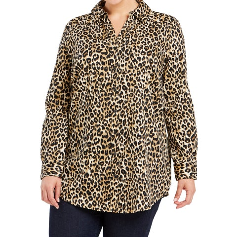 Foxcroft Brown Womens Size 20W Plus Leopard-Printed Tunic Top