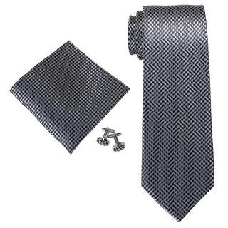 Men's Dark Grey Blue Solid 100% Silk Neck Tie Set Cufflinks & Hanky 18A85