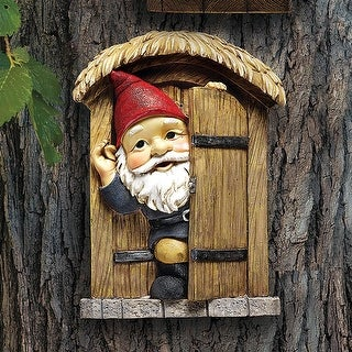 Design Toscano The Knothole Gnomes Garden Welcome Tree Sculpture: Door Gnome