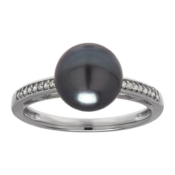 Tahitian Freshwater Pearl Ring with Diamonds in 14K White Gold