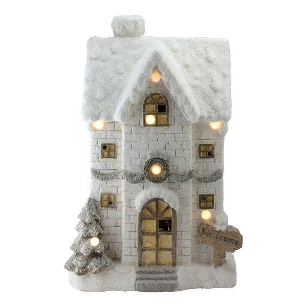 """22.5"""" LED Lighted Musical Snowy Brick House Christmas Decoration - GOLD"""