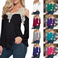 Cold Shoulder Long Sleeve Top With Crochet Neckline in 10 Colors