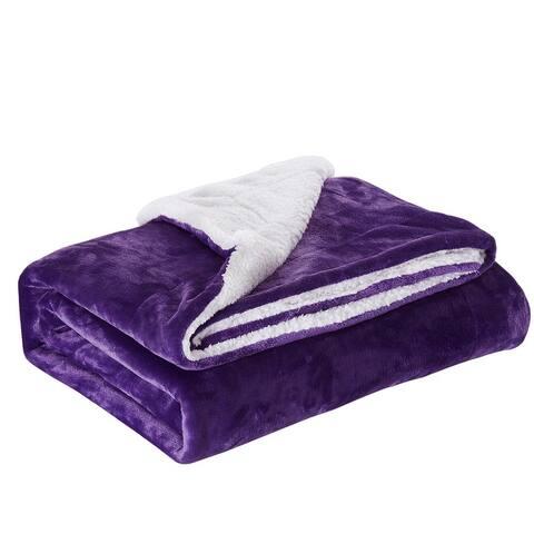 Sherpa Fleece Throw Blanket Reversible Plush Bed Blanket