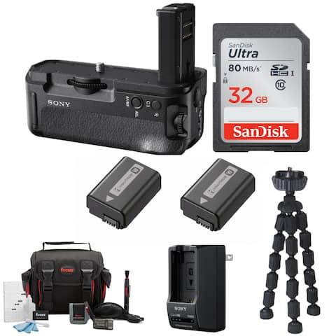 Sony VGC2EM Vertical Battery Grip with 32GB SD Card Bundle - Black