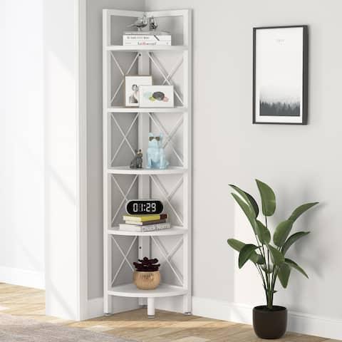 5-Tier Corner Shelves, 5 Shelf Corner Bookshelf and Bookcase