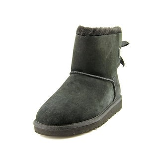 Ugg Australia Mini Bailey Bow Youth Round Toe Suede Black Snow Boot