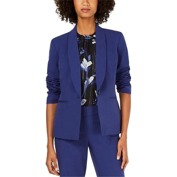 Nine West Womens Shawl Collar One Button Blazer Jacket, Blue, 14. Opens flyout.