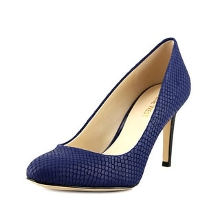 Nine West Hand Jive Women Round Toe Leather Blue Heels