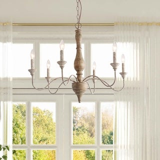 Link to Handmade Farmhouse Distressed Wood 6-light Kitchen Island Chandelier - 29.5 * 29.5 * 24.4 Similar Items in Chandeliers