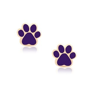 Lily Nily Girl's Dog Paw Stud Earrings - Purple