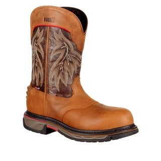 Rocky Western Boots Mens Iron Skull Leather Pull On Brown RKW0203