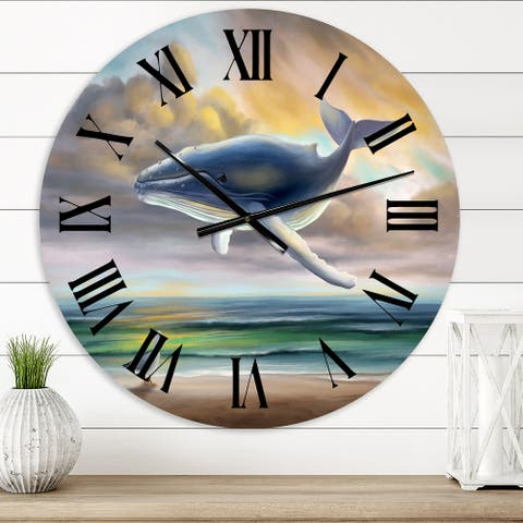 Designart 'Whale Floating In The Sky' Children's Art wall clock