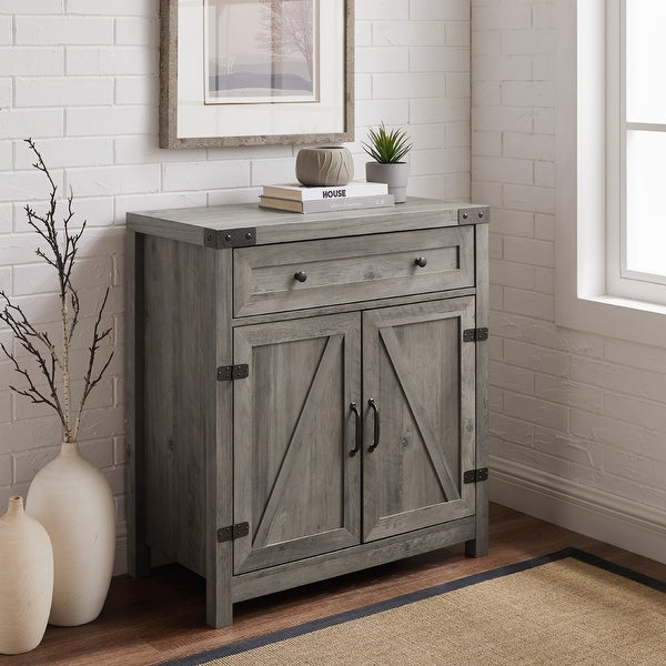 The Gray Barn 30-inch Rustic Barn Door Accent Cabinet. Opens flyout.
