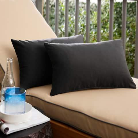 Shiel Sunbrella Black Indoor/ Outdoor Knife Edge Lumbar Pillow Set
