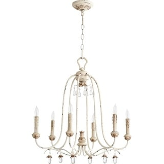 "Quorum International 6144-6 Venice 6 Light 25"" Wide Single Tier Chandelier with Crystal Accents"
