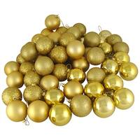 "24ct Vegas Gold Shatterproof 4-Finish Christmas Ball Ornaments 2.5"" (60mm)"