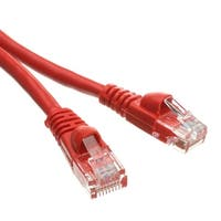 Cat6a Red Ethernet Patch Cable, Snagless/Molded Boot, 500 MHz, 1 foot