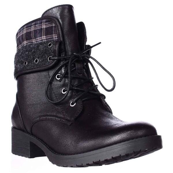 BareTraps Ideh Fleece Lined Combat Boots, Black - 6.5 us