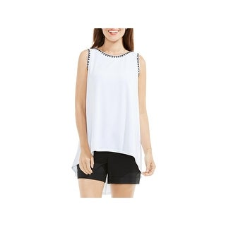 Vince Camuto Womens Tank Top Embroidered Sharkbite Hem