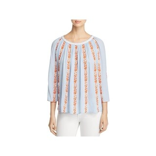 Tory Burch Womens Alexandria Peasant Top Embroidered with Beads Gathered Neck