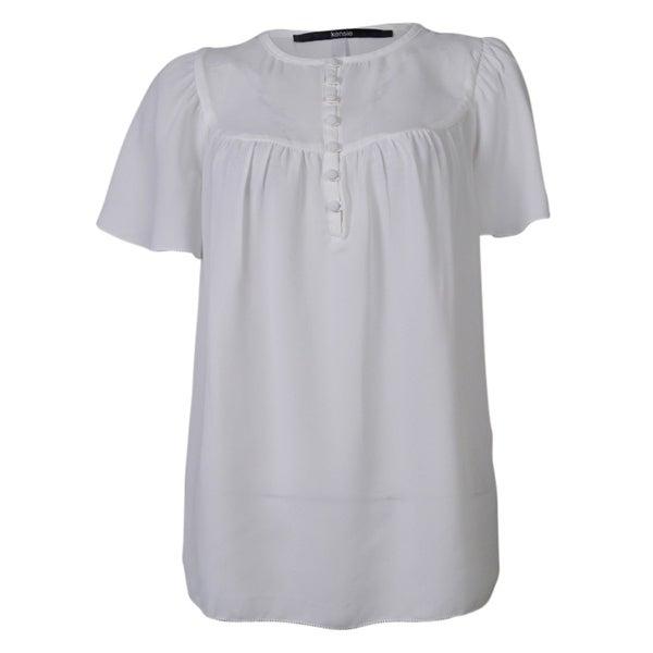 kensie Women's Petal Sleeves Chiffon Top