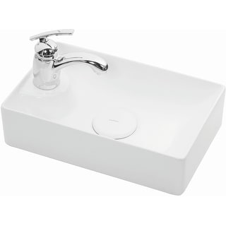 """WS Bath Collections Vision 16042  Vision 16-1/2"""" Ceramic Single Hole Vessel Bathroom Sink - Gloss White"""