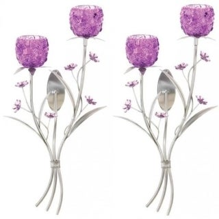 Set of 2 Fuchsia Blooms Wall Sconces