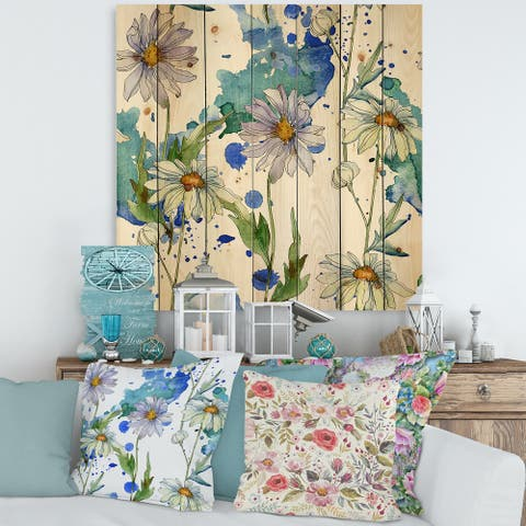 Designart 'Daisies With Green Leaves II' Traditional Print on Natural Pine Wood