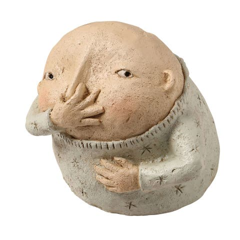 Art & Artifact Boy Holding Nose Sculpture - Primitive Kitschy Figurine Bathroom Decor - Beige - 6 in. x 5 in. x 5 in.