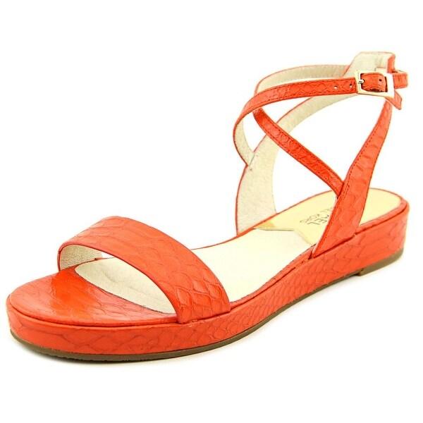 Michael Michael Kors Kaylee Flat Women Open-Toe Leather Orange Slingback Sandal