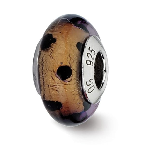 Italian Sterling Silver Reflections Brown with Black Dots Bead (4mm Diameter Hole)