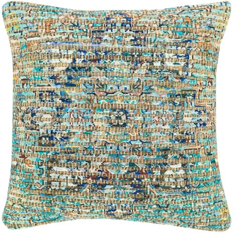 The Curated Nomad Lasuen Woven Jute Medallion 18-inch Pillow with Down or Poly Fill
