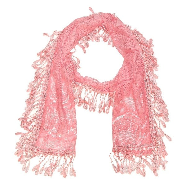 """Women's Sheer Lace Scarf with Fringe - Pink - 70"""" x 11"""". Opens flyout."""