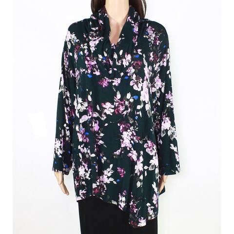 Cupio Women's Green Purple Size 1X Plus Floral Print Cowl Neck Knit Top