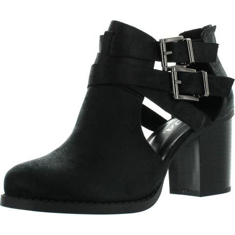 Soda Womens Scribe Ankle Bootie with Low Heel and Cut-Out Side Design Boots
