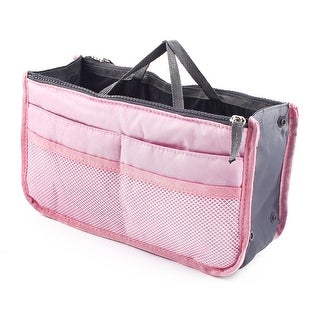 Travel Portable Cosmetic Makeup Storage Handbag Tote Insert Purse Pouch Bag Pink