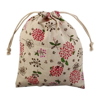 Travel Floral Leaf Print Sundries Storage Candy Pouch Drawstring Bag Red Large