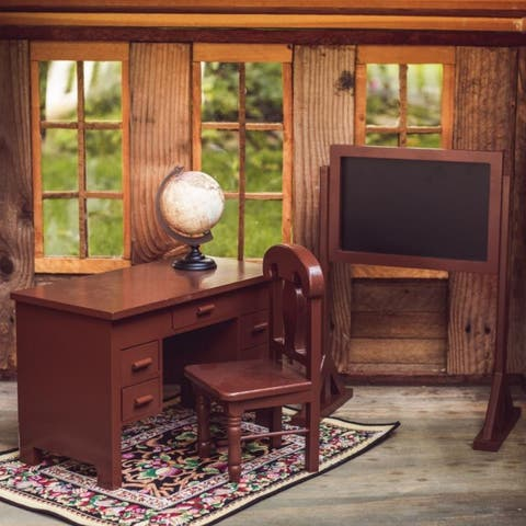 The Queen's Treasures 18 Inch Doll Furniture, Wooden School Teachers Desk and Accessories, Compatible with American Girl