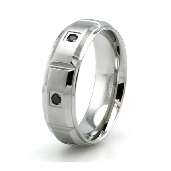 Beveled Stainless Steel Ring with Black Cubic Zirconia