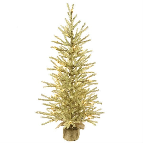 "18"" Pre-Lit Champagne Tinsel Christmas Twig Tree in Burlap Base - Clear Lights"